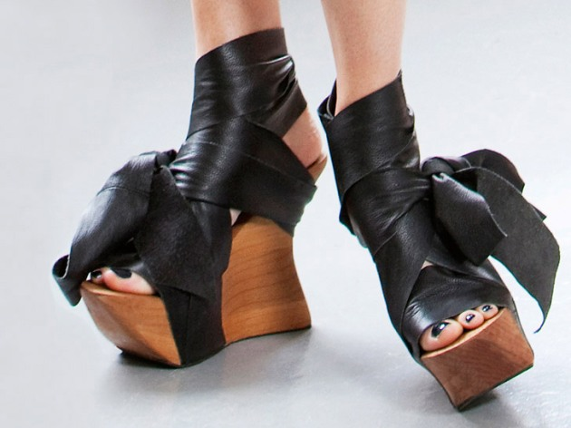 Ms. Wood Leather And Wood Platforms