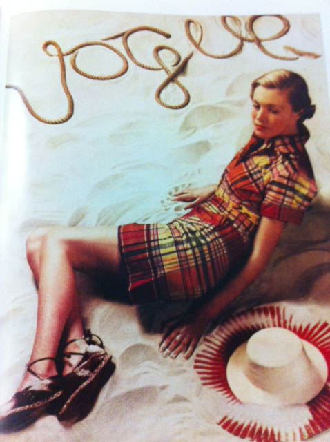 Vogue Cover 1930s Woman In Plaid Dress Laying On Sand