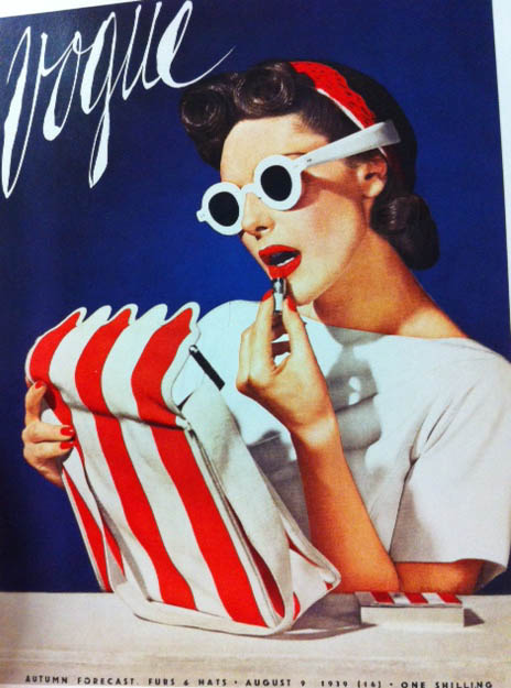 Vogue Cover 1930s Woman With White Sunglasses Red Lips Red And White Stripe Bag