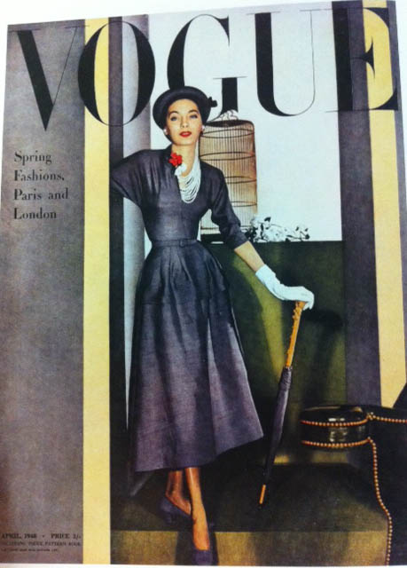 Vogue Cover 1940s Woman In Navy Dress Hat And Umbrella