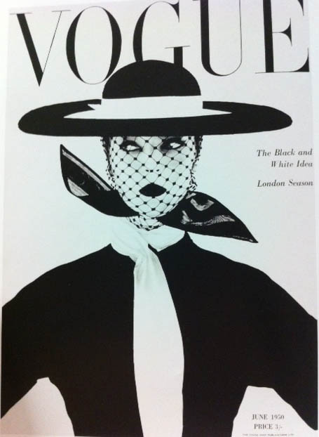 Vogue Cover 1950s Black And White Image Woman In  Hat