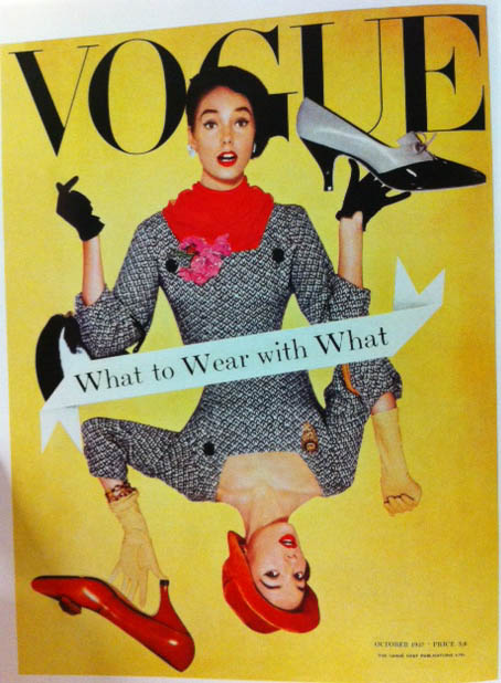 Vogue Cover 1950s Mirror Image Woman Holding Shoes Octover 1957