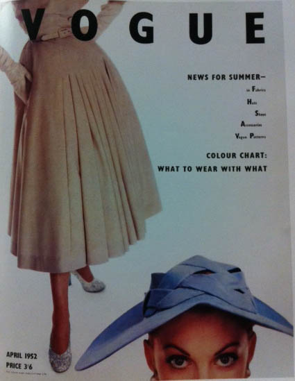 Vogue Cover 1950s Pleated Wool Skirt 1952