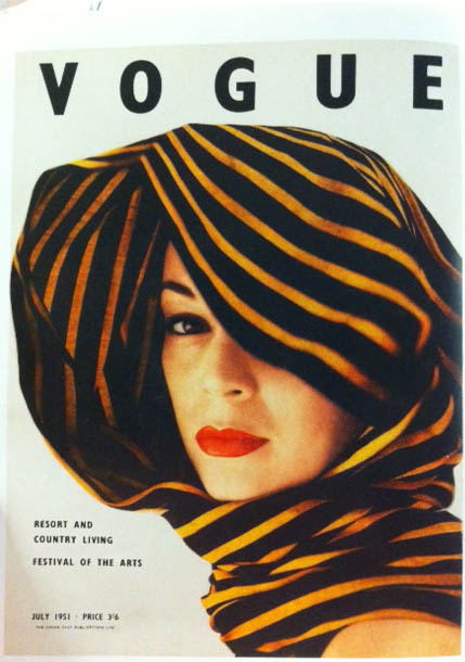 Vogue Cover 1950s Woman In Black Yellow Head Scarf July 1951