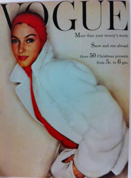 Vogue Cover 1950s Woman in White Coat Red  Hoodie 1954