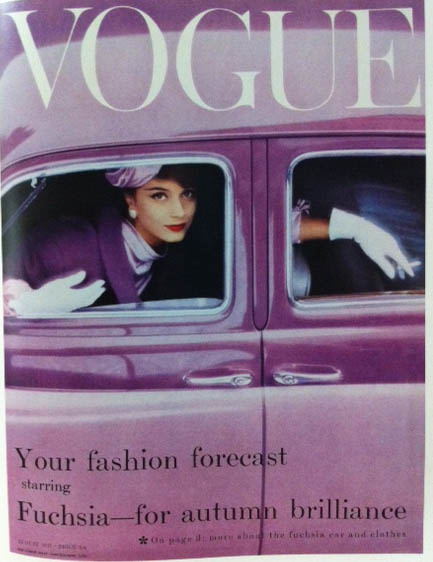 Vogue Cover 1950s Woman Wearing Purple In Purple Car August 1957
