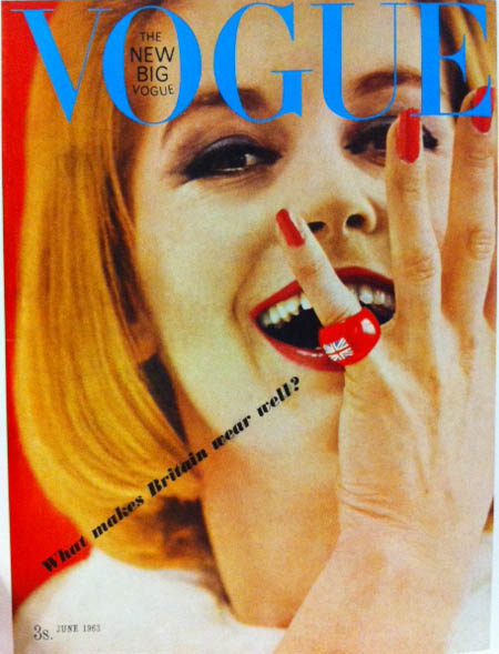 Vogue Cover 1960s British Invasion Model With Red British Flag Ring June 1963