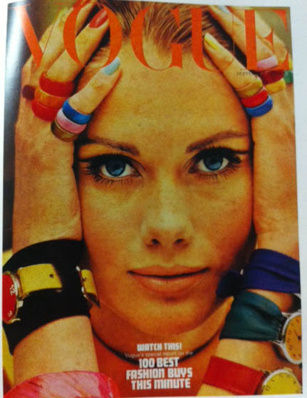 Vogue Cover 1960s Close Up Face Colorful Rings Bracelets September 1966