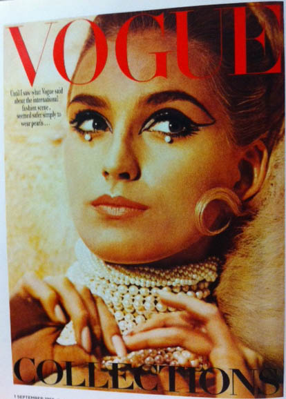 Vogue Cover 1960s Eye Makeup Pearl Drops Pearl Choker Necklace September 1965