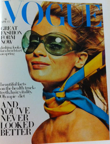Vogue Cover 1960s Model In Sunglasses Neck Scarf April 1968