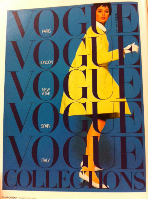 Vogue Cover 1960s Model In Yellow Coat March 1967
