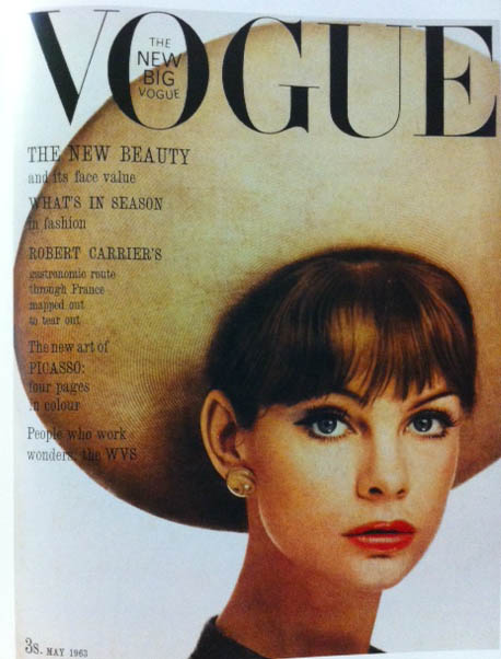 Vogue Cover 1960s Model With Big Brim Hat May 1963