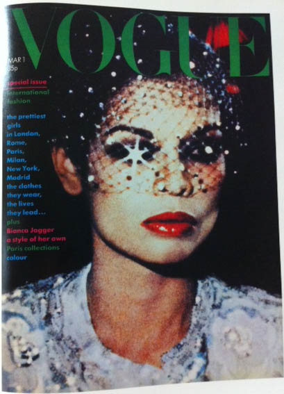 Vogue Cover 1970s Black Tule Over Face March 1974