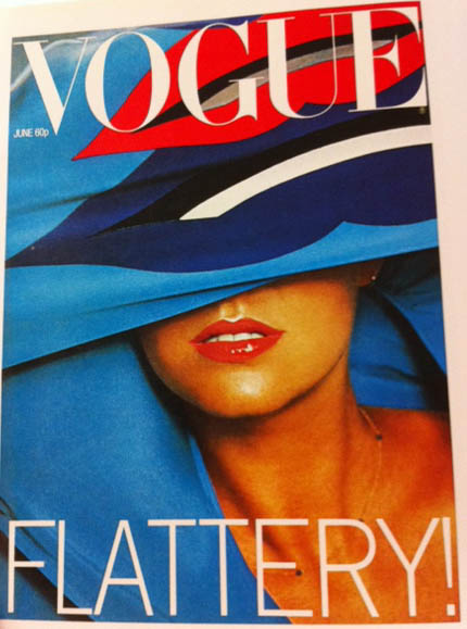 Vogue Cover 1970s Blue Fabric Lips Print Covering Face June 1977
