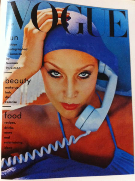 Vogue Cover 1970s Model In Blue Swimming Cap Blue Phone May 1975