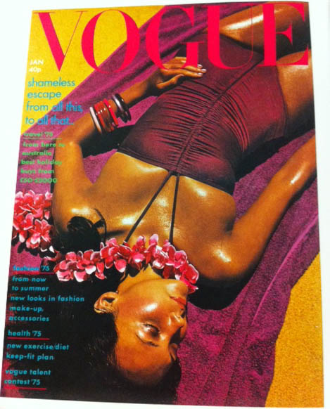Vogue Cover 1970s Model In Plum Color One Piece Bathing Suit January 1975