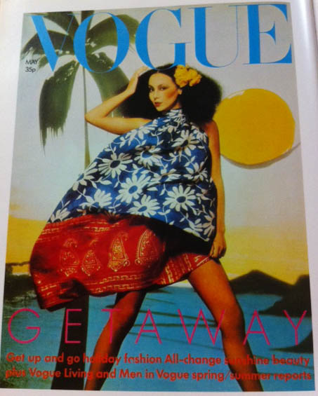 Vogue Cover 1970s Model Wearing Daisy Print Dress May 1974