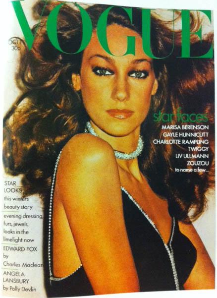Vogue Cover 1970s Model Wearing Diamond Choker Black Dress