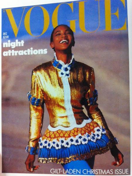 Vogue Cover 1980s Model In Gold Lame Coat Dress December 1987