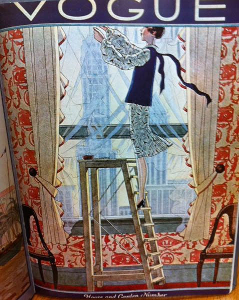 Vogue Covers 1920s Woman Hanging Curtains