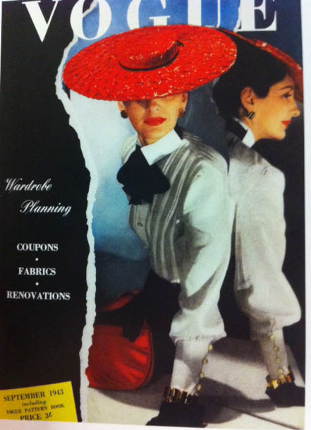 Vogue Covers 1940s Big Red Brimmed Hat White Blouse Vogue 1943