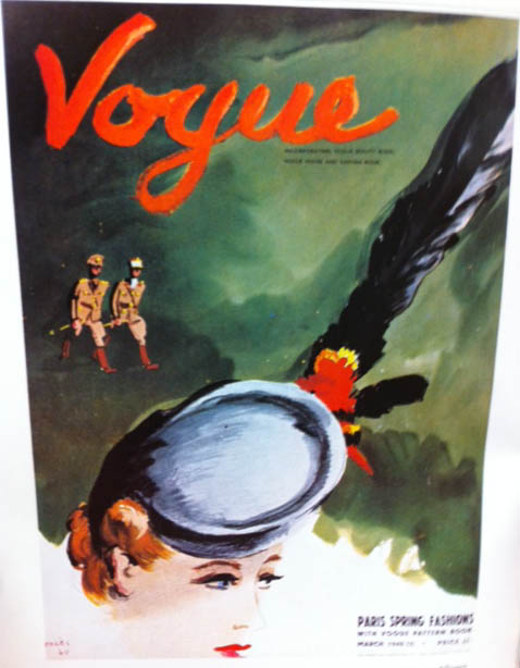 Vogue Covers 1940s Hat With Feather War Background