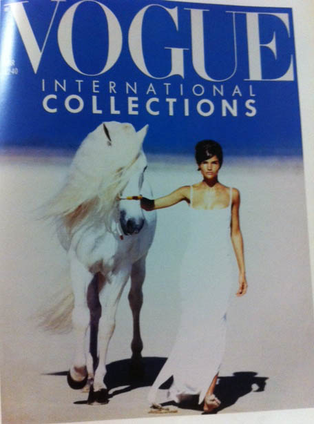 Vogue Covers 1990s Model In White Dress White Horse March 1990