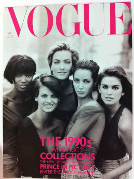 Vogue Covers 1990s Naomi Campbell Cindy Crawford  Christy Turlington January 1990