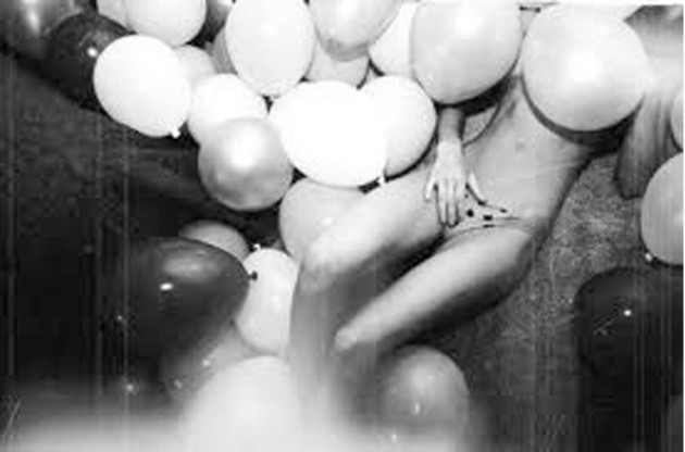 Woman Covered In Balloons Black White