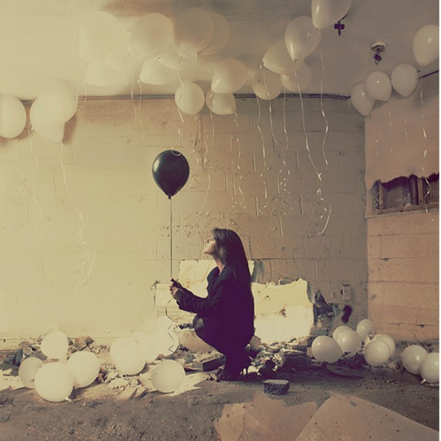 Woman Holding Black Balloon White Balloons