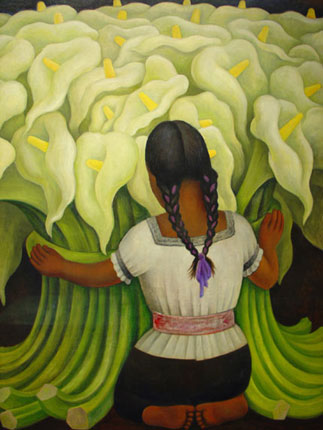 Diego Rivera Girl With White Lilies