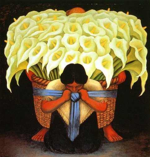Diego Rivera Woman With Basket Of White Lilies