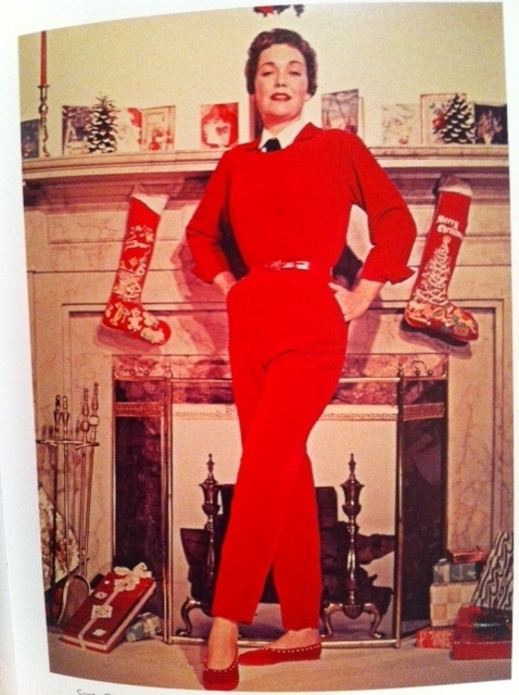 Jane Wyman Vintage Christmas 1955 Red Body Con Jumper