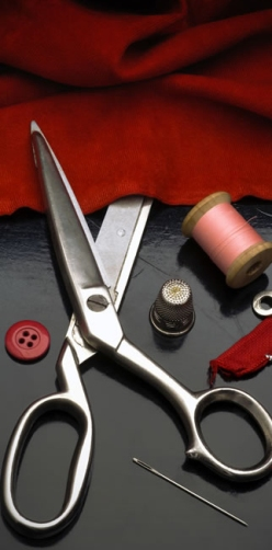 Sewing Supplies Red Fabric Scissors Needle Thread Fashion Institute Of Technology