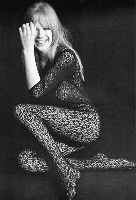 Vintage Black Lace Bodysuit Marianne Faithfull 1966