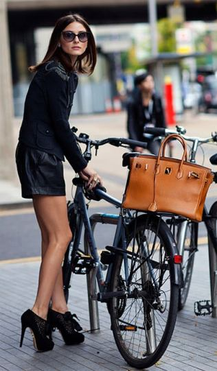 Olivia Palermo Riding Bike In Heels