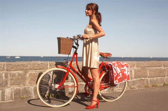 Red High Heels On A Bike