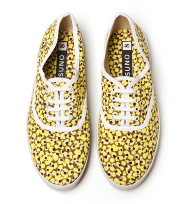 Suno Lace Up Sneakers Yellow Caviar Print