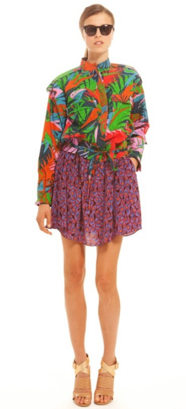 Suno Patched Leisure Bomber Jacket Hawaiian Print
