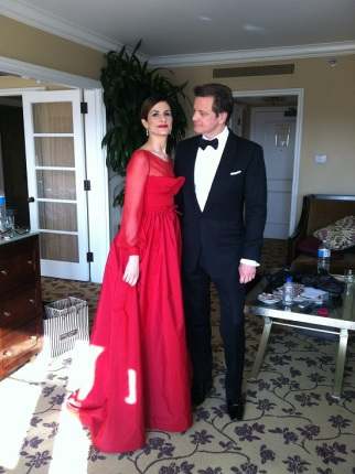 Livia Firth In Red Valentino Sustainable Oscar Dress With Colin Firth