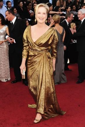 Meryl Streep Oscars Best Actress Winner Sustainable Gold Lanvin Dress