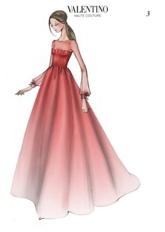 Valentino Sketch Livia Firth Oscar Dress