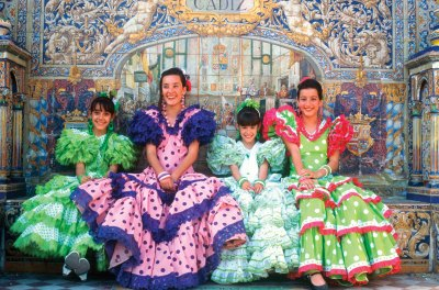 Andalusia Spain Girls In Traditional Costume