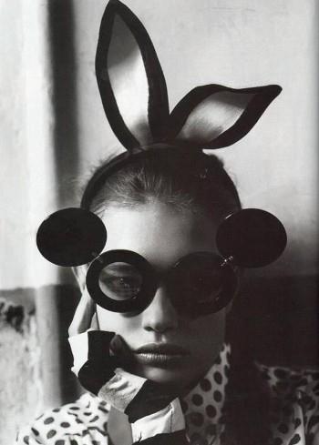 Black And White Bunny Fashion Glasses Model