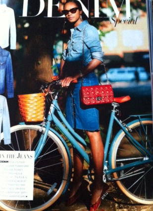 Denim Outfit Riding A Bike Harpers Bazaar May 2012