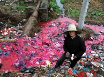Polluted River Dyes Fashion Industry Pollution