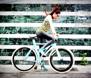 Biking With Heels Nationa Bike To Work Day Blue Heels