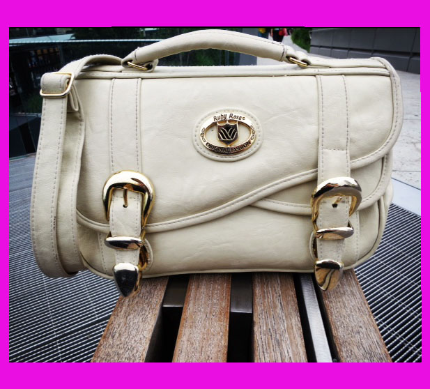 Cream Messenger Bag Gold Hardware Ruby Rose