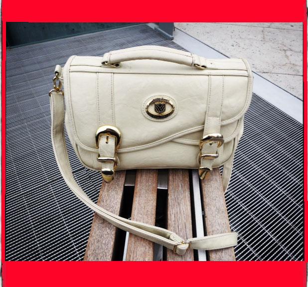 Cream Messenger Bag Gold Hardware
