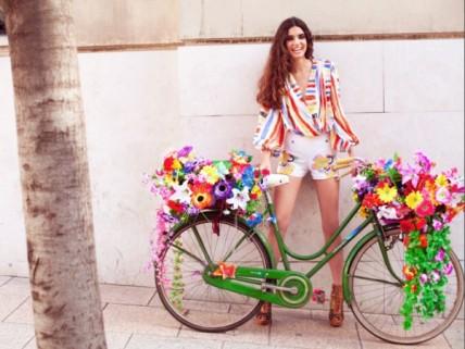 Flower Bike Striped Blouse Short Shorts Heels